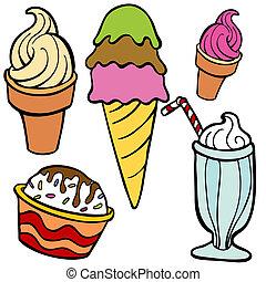 glace, nourriture, articles, crème