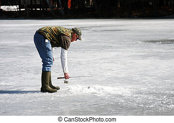 glace, pêcheur