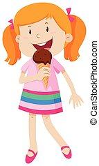 glace, peu, manger, girl, chocolat