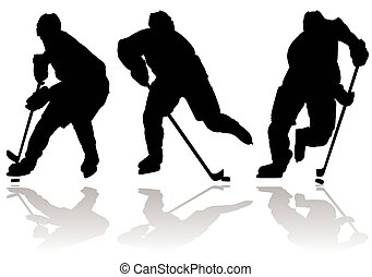 glace, silhouette, joueur hockey
