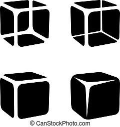glace, symboles, cube, noir
