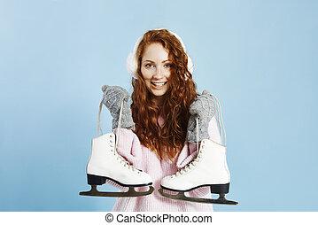 glace, tenue, patins, portrait, fille souriante