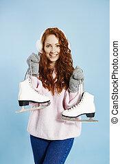 glace, tenue, patins, portrait, girl, heureux