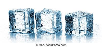 glace, trois, cubes
