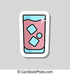 glace, vecteur, verre, eau, icône