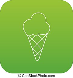 glace, vecteur, vert, crème froide, icône