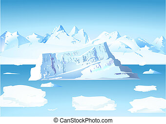 glaciär, isberg