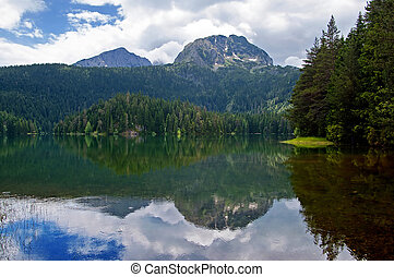 Glacial Black lake located on mount Durmitor, nature in Montenegro continental part