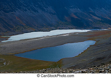 glacial lake in the mountains divided by moraine