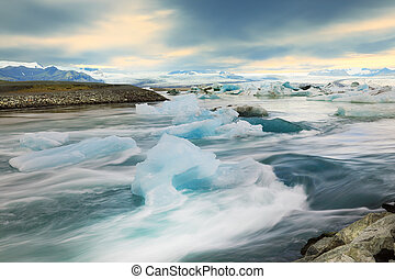 Glacial lake Jokulsarlon, Iceland - Floating icebergs in the...