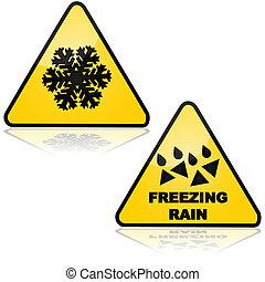 glacial, neige, pluie