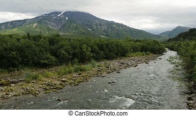 Glacial river among volcanoes.