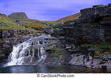 Glacial Runoff - Waterfall from Glacial runoff in Narsaq,...