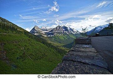 glaciar, montañas, parque, rocoso