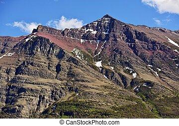 glaciar, montañas, rocoso
