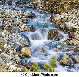 glaciar, riachuelo, agua que fluye