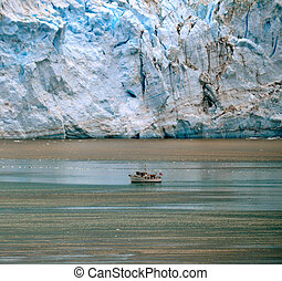 Glacier and Boat in water