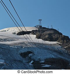Glacier and summit station. Mount Titlis, Switzerland. -...