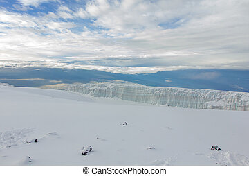 Glacier at the top of Kilimanjaro mountain, Tanzania