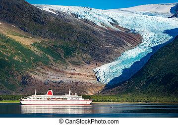 glacier, bateau, norvège, svartisen, croisière