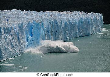 glacier, calving, perito, moreno, glace