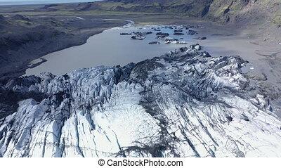 glacier, changement, vue, chauffage, concept, solheimajokull, angle, climat, iceland., global, glaciers, 4k, élevé, fondre, bourdon, aérien