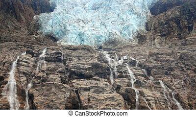 glacier, chute eau, ange