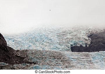 glacier, couler, dwarfed, glace, nassive, hélicoptère