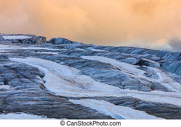 glacier du Tour in sunset. French Alps