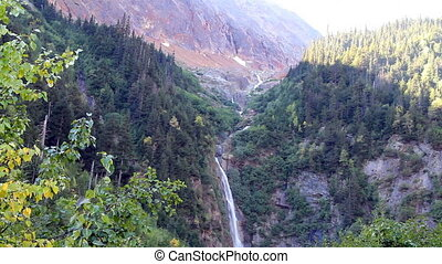 Glacier Falls - Twin Falls with glacier, near Smithers...