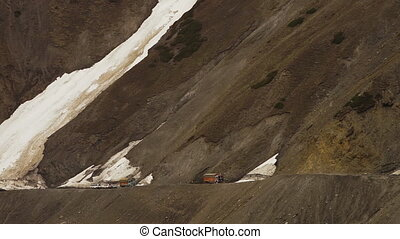 Glacier flowing on a mountain pass, Ladakh road - Close up...