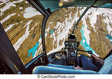 glacier, hélicoptère