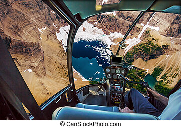 glacier, hélicoptère, parc national