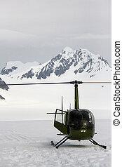 glacier, hélicoptère, vert, alaska