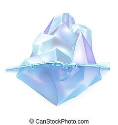 Glacier Iceberg Float On Ocean Water Waves Vector. Atlantic ...