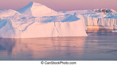 glacier, -, icefjord, climat, icebergs, global, fondre, changement, chauffage