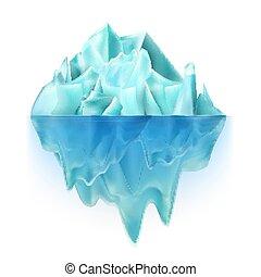 Glacier Icy Rock Floating On Ocean Water Vector. Big Glacier...