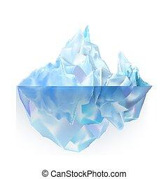 Glacier Icy Rock Floating On Sea Water Vector. Beautiful ...