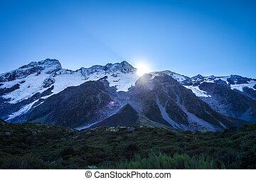 Glacier in Hooker Valley, Mount Cook, New Zealand