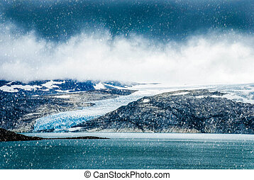 Glacier In Norway, Beautiful Landscape With Cold Cloudy Sky...