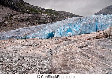 Glacier in Norway - Jostedalsbreen National Park in Briksdalen valley
