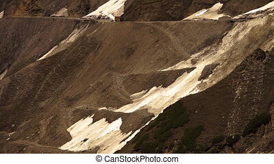 Glacier in ZojiLa Pass slopes of Leh Ladakh road - Close up,...