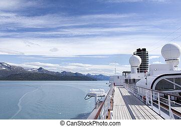 glacier, intérieur, paquebot, baie, park., voyager, croisière, national