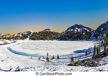 glacier lake at Mount Lassen in the national park - glacier ...