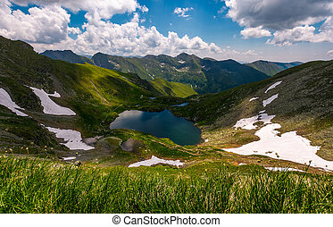 glacier lake Capra in Southern Carpathians. beautiful summer...