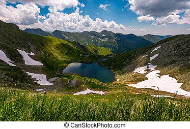 glacier lake Capra in Southern Carpathians. beautiful summer...