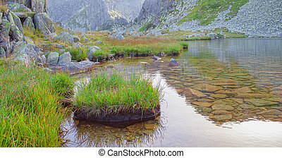 Glacier lake in the mountain, Retezat. Romania