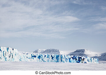 A glacier landscape during winter on the island of Spitsbergen, Svalbard, Norway