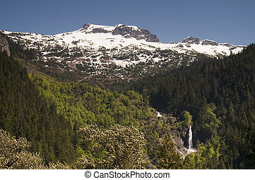Glacier Melt Creates Waterfall North Cascade Mountains