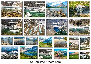 Glacier Montana landscapes collage - Glacier collage of...